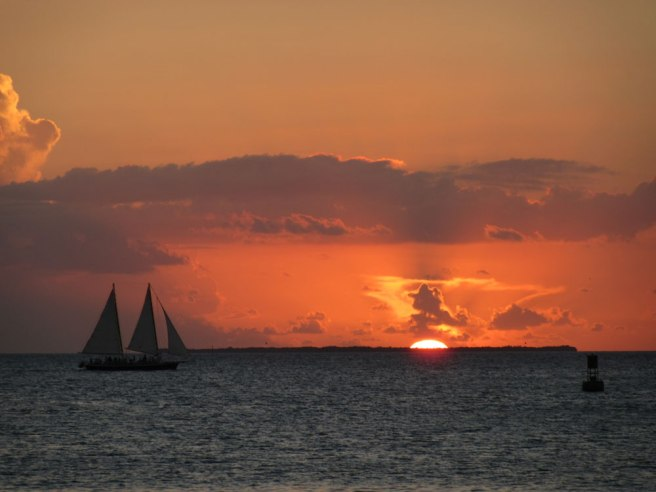 Viering van de zonsondergang in Key West, Florida