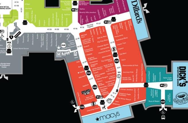 Florida mall plattegrond winkels in Amerika