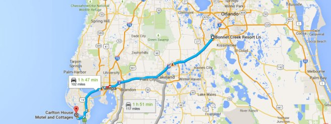 route-orlando-st-pete's-beach-florida-